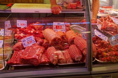 CIVITAVECCHIA, ITALY - APR 21, 2018 - Fresh meat in butcher shop at the central Market in Civitavecchia, Italy Publikacyjne