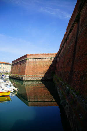 Moat and ravelin walls of the 16th century Medici Fortezza Nuova, Livorno, Italy Editorial
