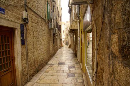 Narrow medieval street near Diocletian's Palace, Split, Croatia Stock Photo