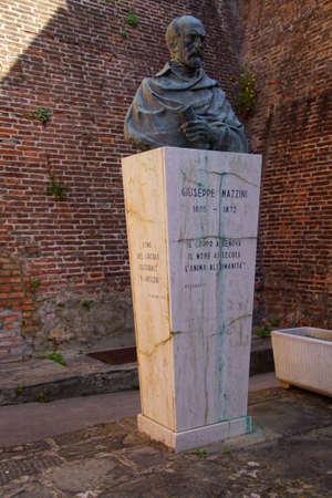LIVORNO, ITALY - APR 23, 2018 - Memorial statue to Giuseppe Mazzini, Fortezza Nuova, Livorno, Italy Editorial