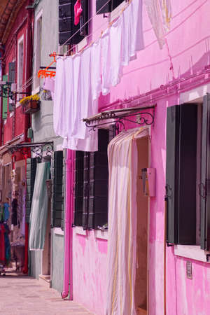 Brightly colored houses of Burano Venice, Italy Stock Photo