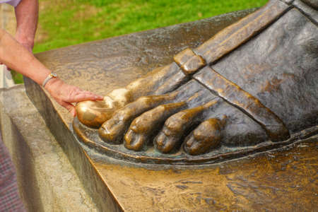 SPLIT, CROATIA - APR 15, 2018 - Grgur Ninski big toe rubbed shiny by superstitious visitors,Split, Croatia