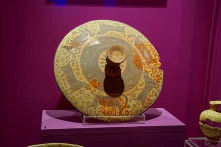 VALLETTA, MALTA - APR 11, 2018 - Phoenician pottery jars and urns, Archaeological Museum,Valletta, Malta