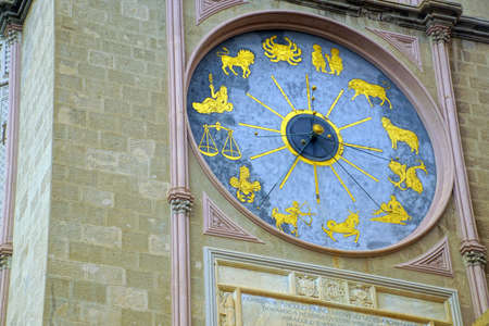 Detail of Gothic bell tower and clock of the Duomo Cathedral Messina Sicily, Italy