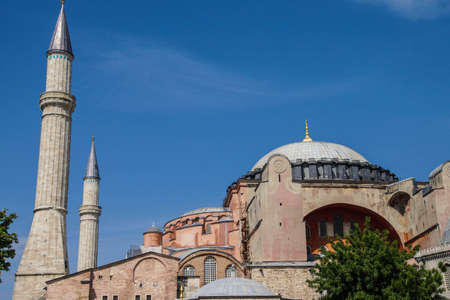 Dome and minarets of Hagia Sophia ( Ayasofya  , 6th century Byzantine cathedral then mosque, Sultanahmet, Istanbul, Turkey Stock Photo