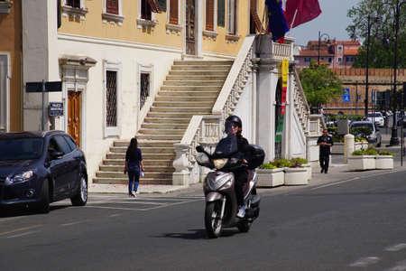 LIVORNO, ITALY - APR 23, 2018 - Motorcycle on a street in Livorno, Italy Editorial