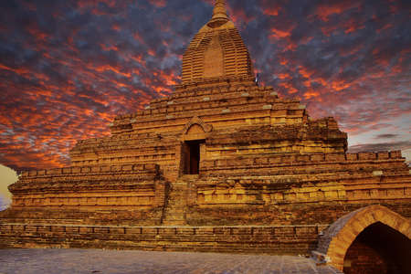 Sunset, Ancient stupas and temples on the plains of Bagan Myanmar (Burma)