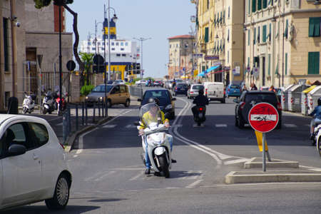 LIVORNO, ITALY - APR 23, 2018 - Motorcycle on a street in Livorno, Italy Editorial