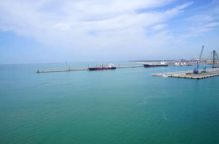 Oil tanker anchored at the breakwater of the port of Livorno, Italy