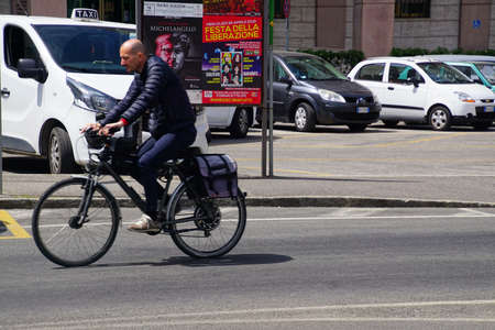 LIVORNO, ITALY - APR 23, 2018 - Bicycle on a street in Livorno, Italy