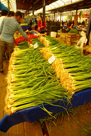 Green spring onions  in central market of Canakkale, Turkey Editorial