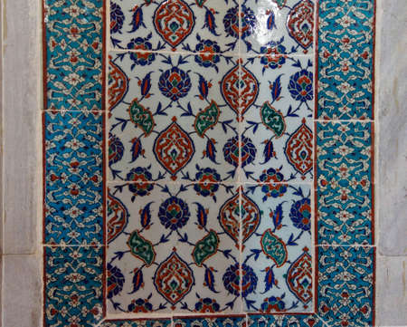 ISTANBUL, TURKEY  - MAY 18, 2014 - Intricate Iznik mosaic tile work  for the tomb of Selim II,  in Istanbul, Turkey Editorial
