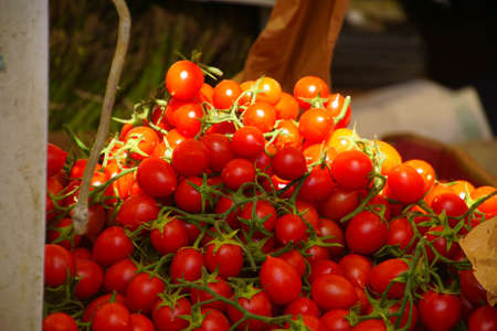 Fresh tomatoes in the market of Livorno, Italy Stock Photo