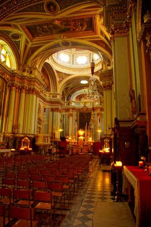 VALLETTA, MALTA - APR 12, 2018 - Interior and main altar of  Church of St Francis Assisi,  Valletta, Malta