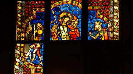MUNICH - JUL 22, 2018 - Beautiful Gothic stained glass window panes, Bavarian National Museum, Munich, Germany Editöryel