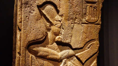 MUNICH - JUL 21, 2018 - Temple relief of Pharaoh Ramses II praying, Egyptian Museum, Munich, Germany Foto de archivo - 106524929