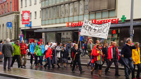 MUNICH - JUL 22, 2018 - Coalition of groups march to protest the Bavarian Social Union (CSU)