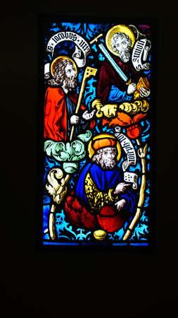 MUNICH - JUL 22, 2018 - Beautiful Gothic stained glass window panes, Bavarian National Museum, Munich, Germany Editorial