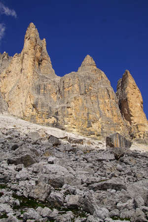 Pinnacles of the Drei Zinnen - Tre Cime di Laveredo peaks in the Dolomites Alps, Italy Reklamní fotografie