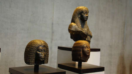 MUNICH - JUL 21, 2018 - Head from a statue of an Egyptian priest, Egyptian Museum, Munich, Germany