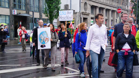 MUNICH - JUL 22, 2018 - Coalition of groups march to protest the Bavarian Social Union (CSU)  Together against the politics of fear in centralMunich, Germany