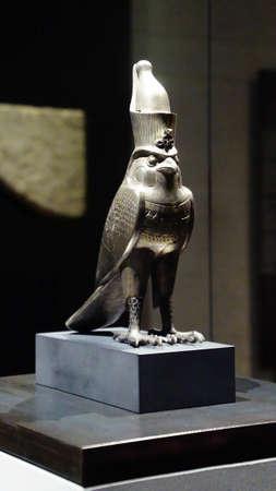 MUNICH - JUL 21, 2018 - Falcon statue of the god Horus, Egyptian Museum, Munich, Germany Editorial