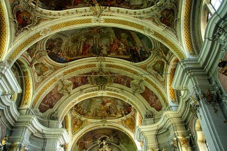 TOBLACH, ITALY - AUG 1, 2018 - Interior of the baroque village church of Toblach, Italy Editorial