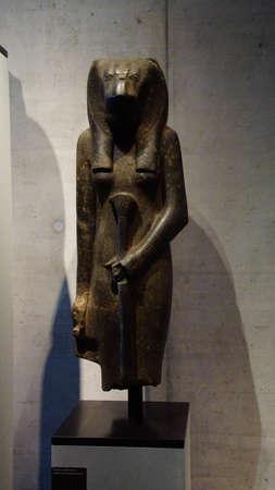 MUNICH - JUL 21, 2018 - Standing figure of the goddess Sekhmet, Egyptian Museum, Munich, Germany Editorial