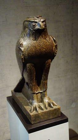 MUNICH - JUL 21, 2018 - Falcon statue of the god Horus, Egyptian Museum, Munich, Germany Editöryel