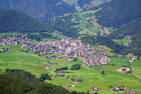 Aerial view of Castelrotto Kastelruth in the foothills of the Dolomites Alps, Italy