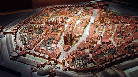 MUNICH - JUL 22, 2018 - Miniature model of the city of Ingelstadt used for strategic military planning, 16th century,Bavarian National Museum, Munich, Germany
