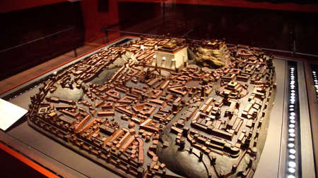 MUNICH - JUL 22, 2018 - Miniature model of the city of Jerusalem used for strategic military planning, 16th century,Bavarian National Museum, Munich, Germany