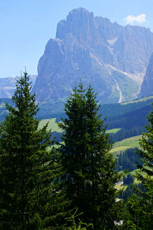 Massif of the Langkofel - Sasso Lungo and the Platkofel - Sasso Piato in the Dolomites Alps, Italy