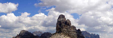 Panorama of jagged mountains from the Monte piana, Dolomites Alps, Italy 写真素材