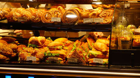 MUNICH - JUL 22, 2018 - Bakery sells breads and sandwiches in the morning in Munich, Germany