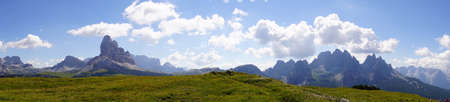 Panorama of pinnacles of the Dolomites Alps, Italy Stock Photo