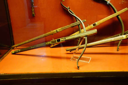 VALLETTA, MALTA - APR 11, 2018 - Medieval crossbows, bolts and quarrels, Palace Armoury, Valletta, Malta