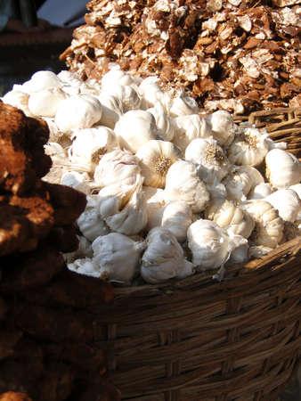 Basket of garlic in the Lad Bazaar in Hyderabad, India