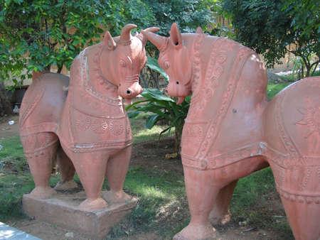 Terra cotta horses in folk art garden in Hyderabad, Andhra Pradesh, in Hyderabad, India Editorial