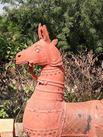 Terra cotta horses in folk art garden in Hyderabad, Andhra Pradesh, in Hyderabad, India Stock Photo