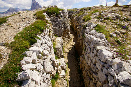 World War I trenches in the mountain top of Monte piana, Dolomites Alps, Italy