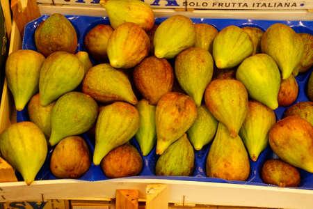 Fresh figs at an outdoor market in Bolzano, Italy Stock Photo