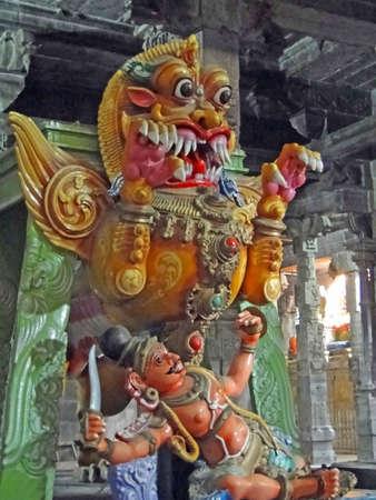 Demon statue in  at Shiva temple in Kanchipuram, Tamil Nadu,India
