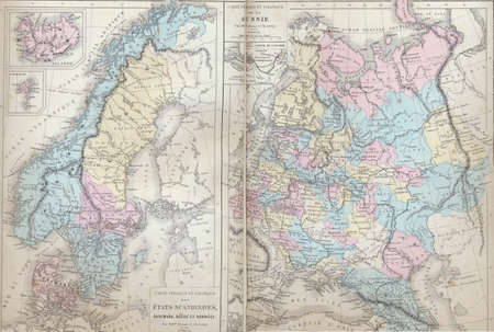 Antique map of Scandanavia and Russia  from 1869 - Atlas Universel et Classique de Geographie, by Mm. Droux et Ch. Leroy, Publisher: Paris: Librairie Classique dEugene Belin