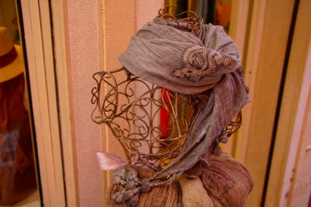 Detail of handmade lace made in Burano Venice, Italy 新聞圖片