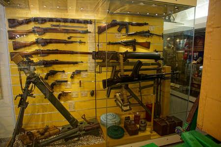 VALLETTA, MALTA - APR 11, 2018 - Machine guns and other infantry weapons, Malta at War Museum, Birgu Vittoriosa, Malta Editorial