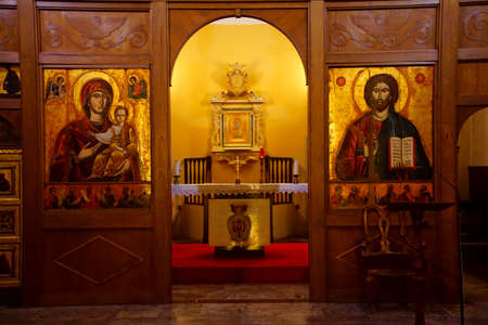 LIVORNO, ITALY - APR 23, 2018 - Golden altar icons in the Church of the Purification, Livorno, Italy Editorial