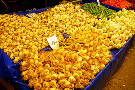 Fresh garlic in the central market of Canakkale, Turkey Editorial