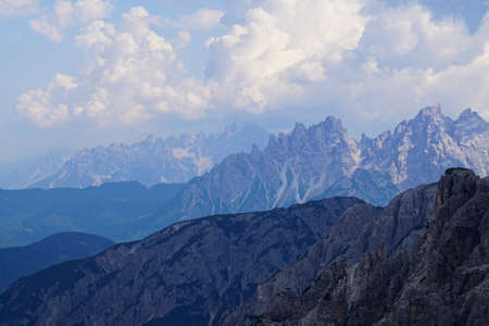 Rows of jagged peaks  of the Dolomites Alps, Italy Stock Photo