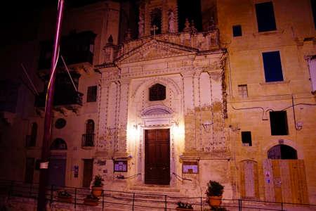 Nighttime illumination of parish chruch in Valletta, Malta
